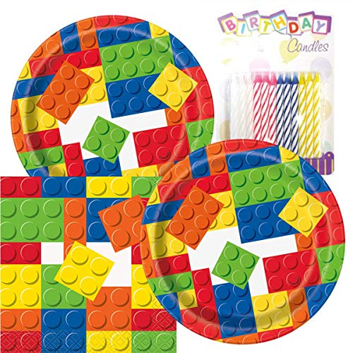 """Building Blocks Birthday Party Pack – Includes 7"""" Paper Plates & Beverage Napkins Plus 24 Birthday Candles – Serves 16"""