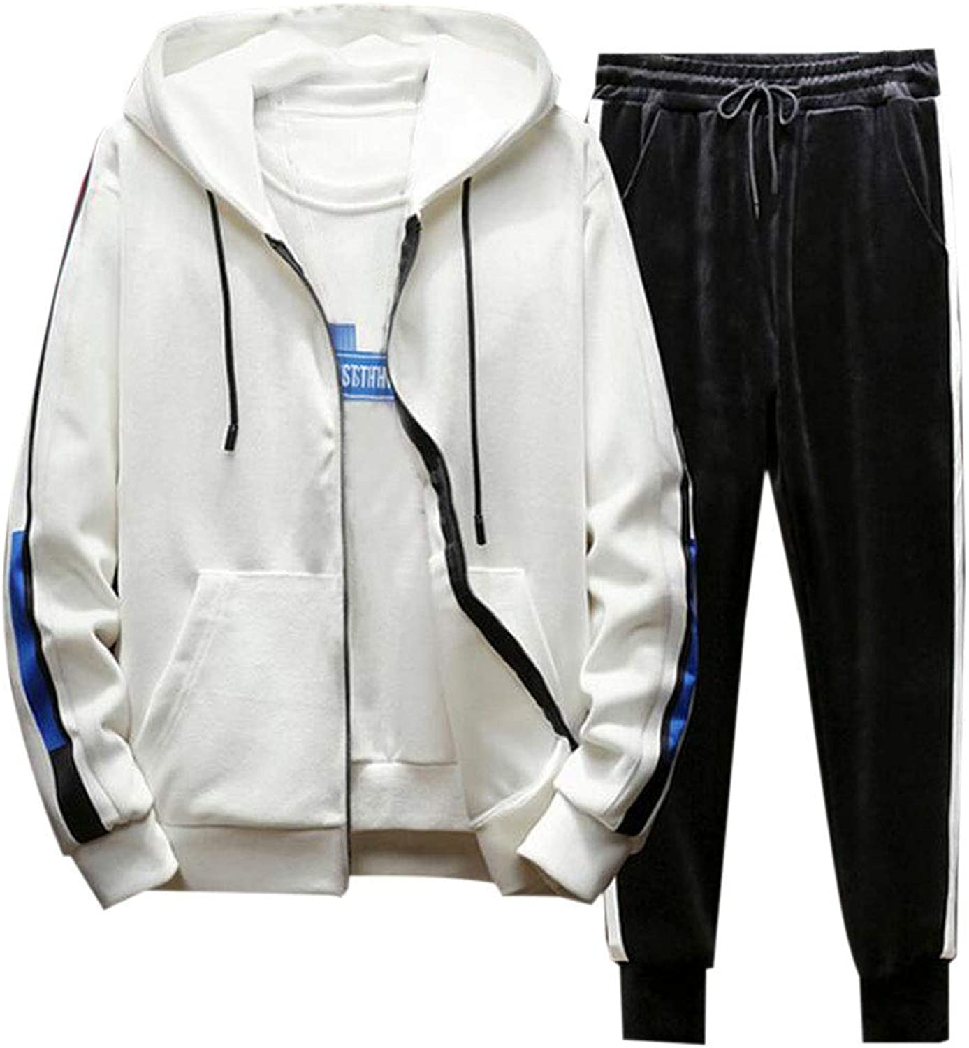 SELX Men Thicken Athletic Hooded Velvet 2 Pieces Tracksuits Sets