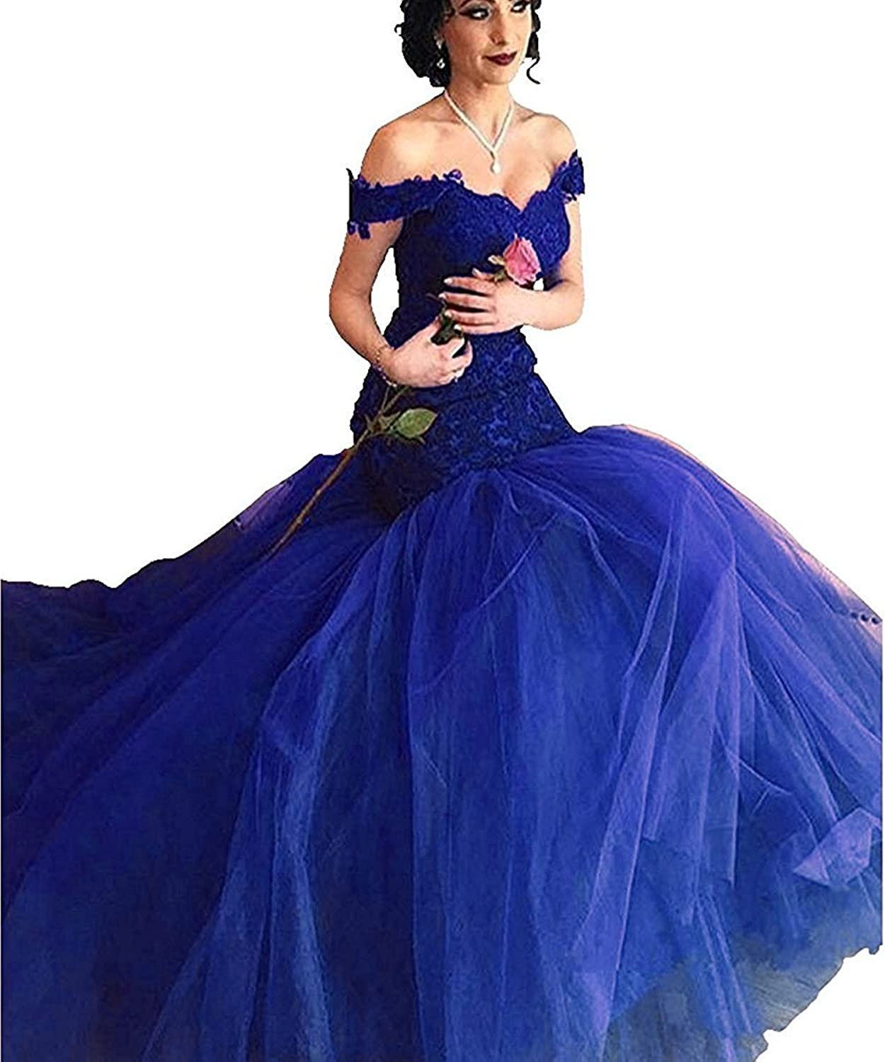 Beilite Women's Off Shoulder Mermaid Long Prom Dress Lace Evening Party Gowns
