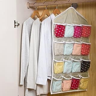 YOTHG 16 Pockets Clear Over Door Hanging Bag, Shoe Rack Hanger, Underwear Bra Socks Closet Storage Tidy Organizer(Beige)