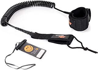 Goplus 11ft Surf Leash Coiled Safety Rope Set, Ankle Strap with Waterproof Wallet/Phone Bag