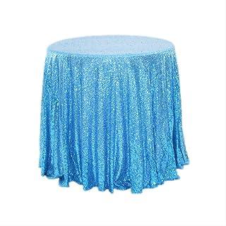 Sequined Tablecloth Home Hochzeit Feiern Bankett Dekoration Weihnachten Tischtuch Rotes Gold-Stickerei Rund 60 cm Durchmesser Lake Blue