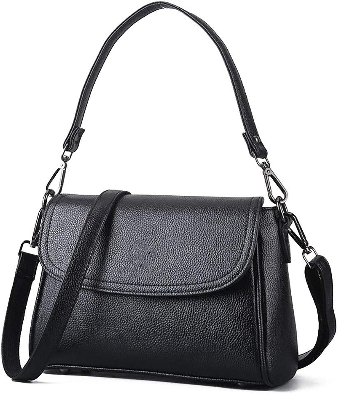 Sturdy Women's Shoulder Satchel Handbag Leather Handbag Vintage Crossbody Satchel Purse Large Capacity (color   Black, Size   Free Size)