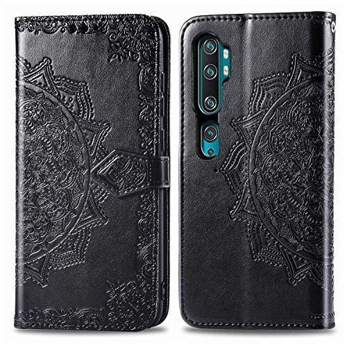 Bear Village Hülle für Xiaomi MI Note 10 / MI CC9 Pro/MI Note 10 Pro, PU Lederhülle Handyhülle für Xiaomi MI Note 10 / MI Note 10 Pro, Brieftasche Kratzfestes Handytasche mit Kartenfach, Schwarz