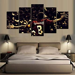 PEACOCK JEWELS [Small] Premium Quality Canvas Printed Wall Art Poster 5 Pieces / 5 Pannel Wall Decor Liverpool fc Painting, Home Decor Pictures - Stretched