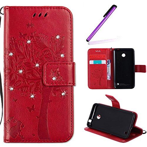 EMAXELERS Nokia Lumia 630 Hülle PU Lederhülle Bookstyle Handyhülle Flip Glitzer Asche Brieftasche Bumper mit Kartenfächer Wallet Tasche Etui für Nokia Lumia 630/635,Diamond Red Wishing Tree