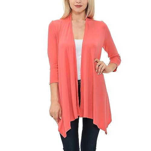Shamaim Womens Womens 3 4 Sleeve Draped Open Front Cardigan 064661041