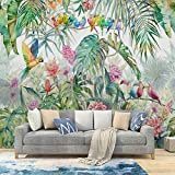 MILUSEN Planta tropical Flor Pájaro colorido Papel pintado Selva Loro Mural Sala de estar Papel tapiz Tela de pared transparente Verde