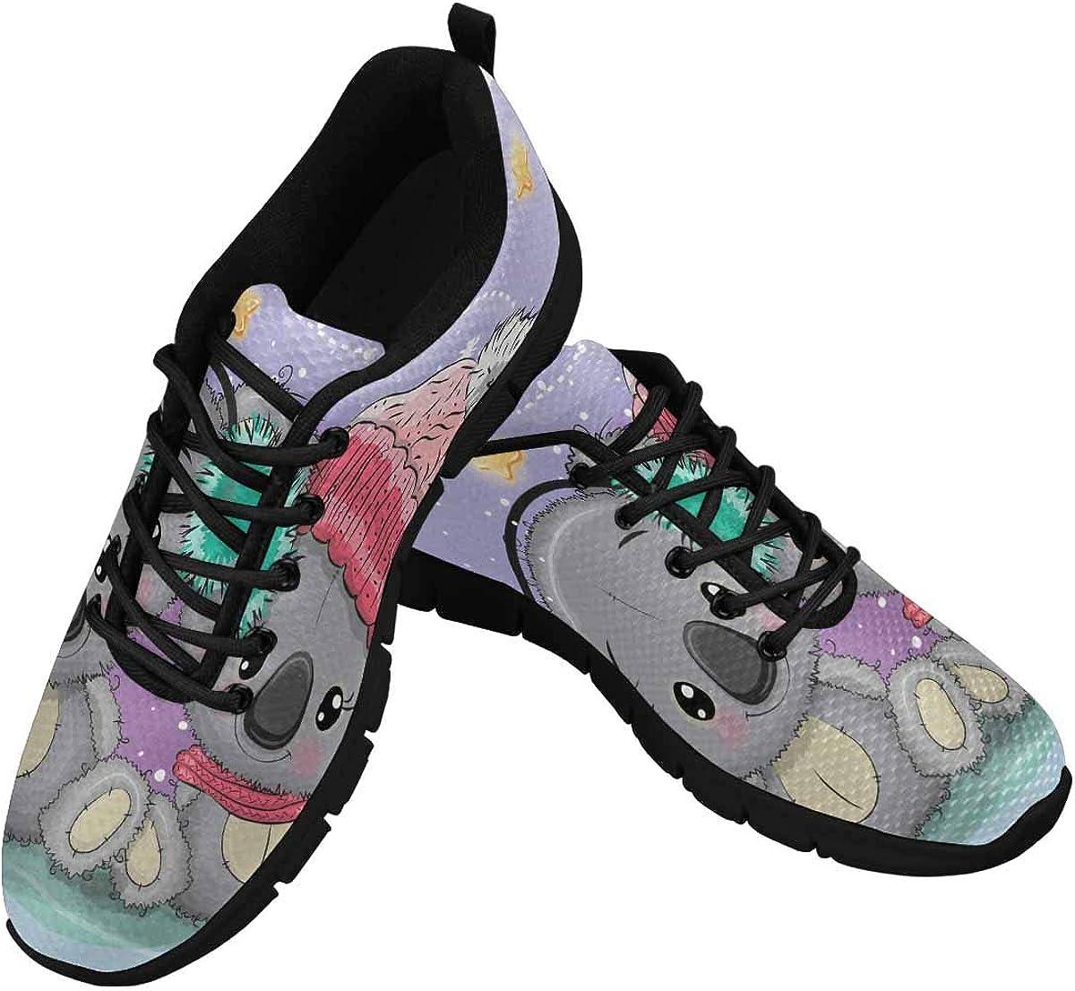 INTERESTPRINT Koalas Lovers Women Walking Shoes Comfortable Lightweight Work Casual Travel Sneakers