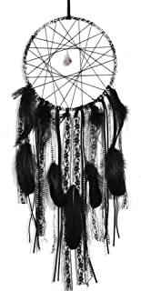 Black Dream Catchers for Bedroom - Handmade Dream Catchers with Lace Tassel and Amethyst for Wall Hanging Home Decor Ornament Craft Blessing Gifts (Druzy Black)