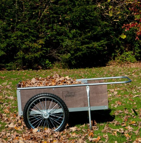 Garden Cart with Pneumatic Wheels - Medium Size (Wood/Steel) (20 1/4'H x 21 1/2'W x 52 1/2'D)