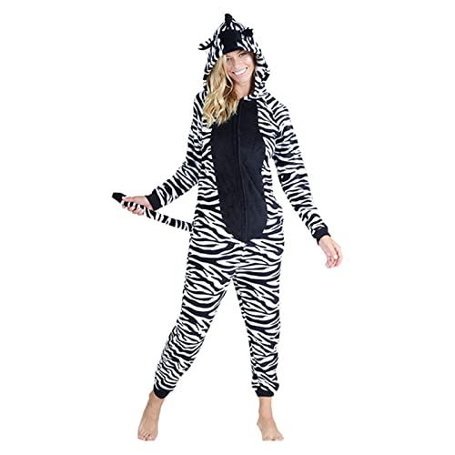 Yelete Plush Animal Adult Jumpsuit Pajama Costume Non-Footed with Pockets d88967d32