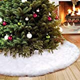 Flyinghedwig Lusso in Finta Pelliccia Albero di Natale Gonna 120 cm soffice Neve Bianco Natale Decorazioni Albero di Natale Vacanze gonne