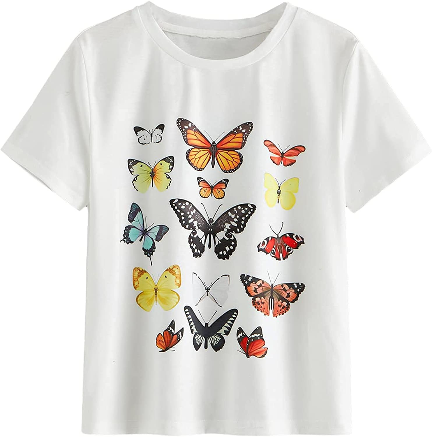 SOLY HUX Girl's Butterfly Print Short Sleeve Tee Casual T Shirt Top