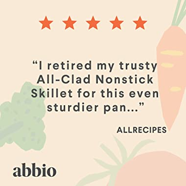 Abbio | Large Nonstick Skillet - 4 Layer Scratch-Resistant Nonstick Coating - Stainless Steel - Induction Ready - PFOA Free -