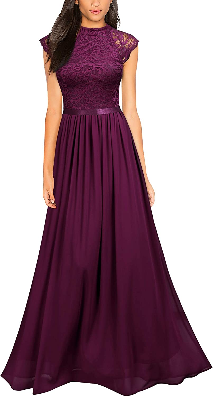 Miusol Women's Formal Sleeveless Floral Lace Bridesmaid Party Maxi Dress