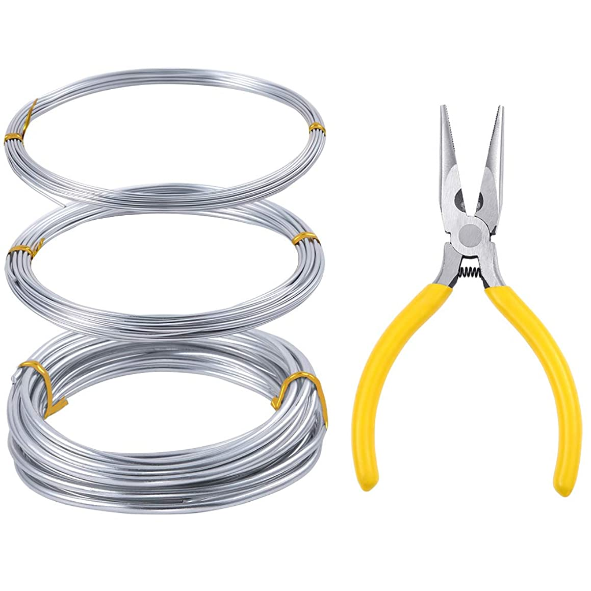 PP OPOUNT?Silver Aluminum Craft Wire 3 Rolls Each Roll 16.4 Feet Bendable Metal Wire with Needle-Nose Pliers for DIY Craft, Sculpture, Jewelry Making(3 Size in 1 mm 1.5mm 3mm Thickness)
