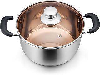TeamFar - Olla de acero inoxidable con tapa. Olla de sopa para servir. Con asas resistentes al calor, saludable y no tóxica, fácil de limpiar, y apta para el lavavajillas 20 cm plata