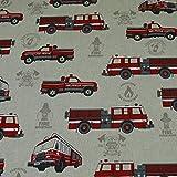 Dekostoff Emilia, Feuerwehr, Feuerwehrautos, beige (25cm x