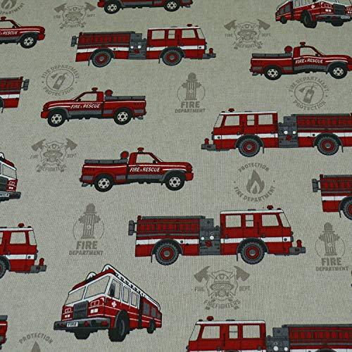 Dekostoff Emilia, Feuerwehr, Feuerwehrautos, beige (25cm x 140cm)