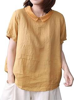 IXIMO Women's Short Sleeve Linen Tops Patchwork Doll Collar Summer Shirts Blouses