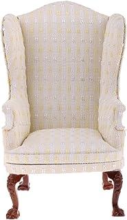 Kesoto ドールハウス ウィングチェア ソファ 1:6スケール リビングルーム家具 椅子 シングルソファ 2色選択 - ベージュ