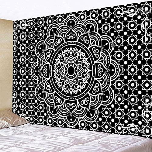 QAWD Tapiz de Mandala en Blanco y Negro para Colgar en la Pared Estilo Boho Escena psicodélica Fondo de Tela Manta Tela Colgante A1 150x200cm