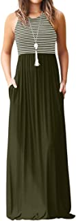 YOINS Maxikleider Damen Strandkleid Sommerkleid für Damen lang Ärmellos Strandmode mit Streifen