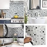 BEAUSTILE Decorative Tile Stickers Peel Stick Backsplash Fire Retardant Tile Sheet (Monocrome) (2,...