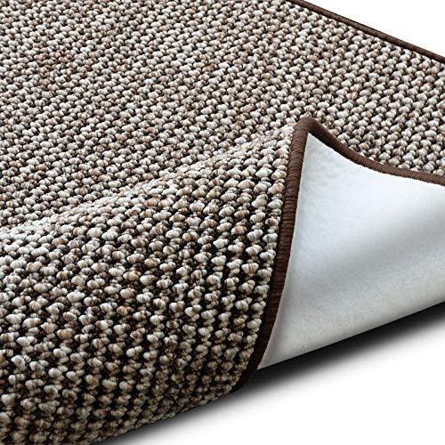 casa pura Teppich Grandeur | pflegeleichtes Bouclé | viele Größen | für Flur, Wohnzimmer, Esszimmer, Küche, Schlafzimmer, Büro | gekettelt (Braun - 80x150 cm)