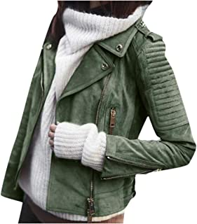 JESPER Women's Faux Suede Leather Bomber Motorcycle Biker Jacket Retro Slim Ruched Short Coat with Zipper