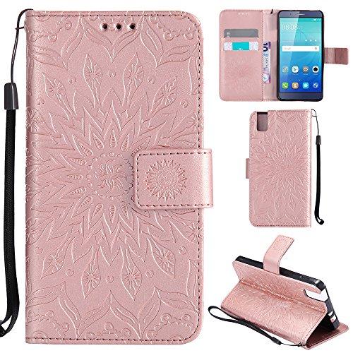 Ooboom® Huawei ShotX Hülle Sonnenblume Muster Flip PU Leder Schutzhülle Handy Tasche Hülle Cover Stand mit Kartenfach für Huawei ShotX - Rose Gold