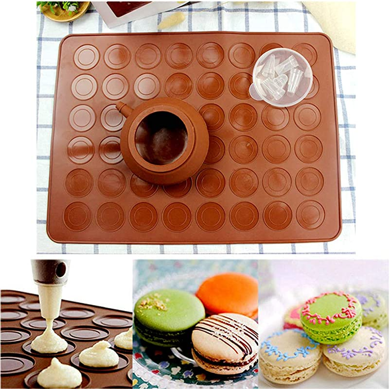 Macaron Baking Set ZITTEE Macaron Kit Non Stick FDA Approved Silicone Mat For Macaron Pastry And Cake Fits Freezer Microwave Oven Dishwasher Safe With Piping Pot And 4 Nozzles