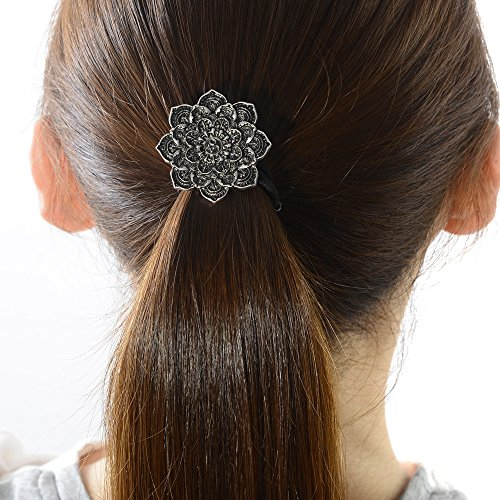 Ponytail Holder Celtic Hair Tie –Viking Women's Hair Accessory Versatile Celtic Hair Tie Bracelet Yoga Inspired Om Lotus Mandala Flower Amulet Jewelry Hair Bands Up/down for Audlts/Kids/Girls (F-N)