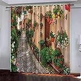 Zhinanhui Vorhänge Gartenhaus Vorhang Blickdicht 100% Polyester mit Haken 2er Set Verdunkelungsvorhang für Schlafzimmer Kinderzimmer Wohnzimmer Dekoration 220x215cm