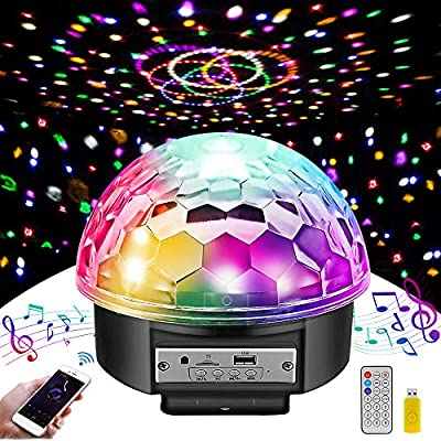 Disco Lights MOSFiATA 9 LED Color 12W Disco Ball Sound Activated Party Lights Bluetooth Speaker,7 Modes Stage Par Light Home Room Parties Christmas Karaoke Bar Show