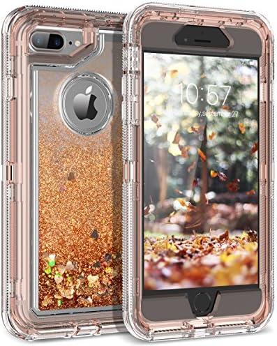 Dexnor iPhone 8 Plus Case, iPhone 7 Plus Case, Glitter 3D Bling Sparkle Flowing Liquid Case Transparent 3 in 1 Shockproof TPU Silicone + PC Cover for iPhone 8 Plus/ 7 Plus/6s Plus/6 Plus - Silver