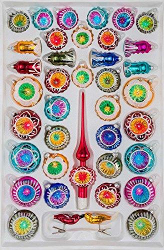 39 TLG. Glas-Weihnachtskugeln Set in Hochglanz Vintage Style - Christbaumkugeln - Weihnachtsschmuck-Christbaumschmuck-Reflektorkugeln-Reflexkugeln-Reflector Balls-