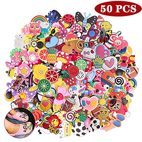 Efivs Arts 50pcs Random Shape Shoes Charms Fits for Clog Shoes & Wristband Bracelet Party Supplies Birthday Gifts Back-to-School Favors Gifts for Kids