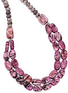 "Lex & Lu Sterling Silver Charoite, Jade, Pink and Purple Jasper Necklace 18"""
