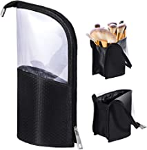 Travel Make-up Brush Cup Holder Organizer Bag, Pencil Pen Case for Desk, Clear Plastic Cosmetic Zipper Pouch, Portable Waterproof Dust-Free Stand-Up Small Toiletry Stationery Bag with Divider, Black