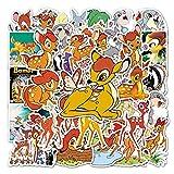 Dibujos animados Bambi Graffiti impermeable Monopatín viaje maleta teléfono portátil equipaje pegatinas lindo niños niña juguetes 50 unids