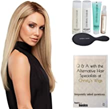 Bundle - 7 Items: Blake Petite Exclusive Remy Human Hair Wig by Jon Renau, Christy's Wigs Q & A Booklet Luxury Shampoo & Conditioner Blown Away Balm Treatment Mist & Paddle Brush - Color: 6RN