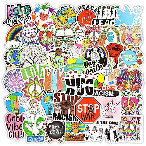 WYDML Amor y Paz Vintage Hippie Pegatina Motocicleta Equipaje portátil monopatín Graffiti Juguetes para niños 50 Uds