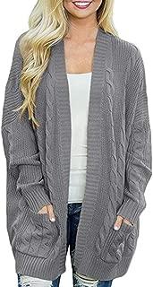 AKEWEI Womens Casual Oversized Sweater Open Front Knit Cardigan Coat Chunky Outwear Boyfriend Rib Boho Sweaters