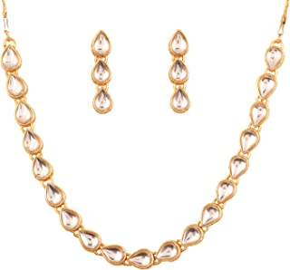 """Touchstone """"Contemporary Kundan Collection Indian Bollywood Look Bridal Jewelry Necklace in Antique Gold Tone for Women"""
