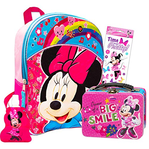 Disney Minnie Mouse Backpack and Lunch Box Bundle Set for Preschool Toddlers ~ Deluxe 11' Minnie Mouse Mini Backpack and Snack Tin with Water Bottle and Stickers (Minnie Mouse School Supplies)