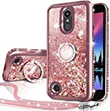 Silverback Compatible for LG Aristo/Aristo 2/Aristo 2 Plus/Aristo 3/Aristo 3 Plus/Tribute Dynasty/Tribute Empire/Rebel 3 LTE/Phoenix 4 Case, Bling Liquid Holographic Glitter Case with Ring -Rose Gold