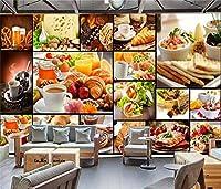 写真の壁紙3D壁画朝食ショップコーヒーステーキピザ背景壁現代のHdポスター大きな壁のステッカーツーリング壁アート装飾壁の装飾-118.2x82.7inch