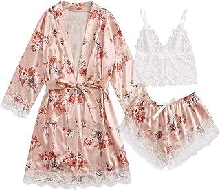 BJYXSZD Women's 3pcs Lace Satin Pajamas Sexy Camisole Bra Underwear Nightdress Sleepwear Robe Lingerie Set